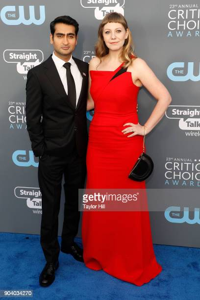 Kumail Nanjiani and Emily V Gordon attend the 23rd Annual Critics' Choice Awards at Barker Hangar on January 11 2018 in Santa Monica California