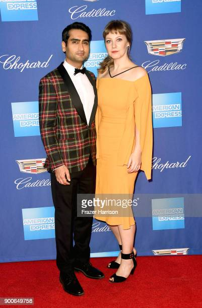 Kumail Nanjiani and Emily V Gordon attend the 29th Annual Palm Springs International Film Festival Awards Gala at Palm Springs Convention Center on...