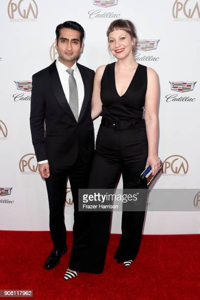 Kumail Nanjiani and Emily V Gordon attend the 29th Annual Producers Guild Awards at The Beverly Hilton Hotel on January 20 2018 in Beverly Hills...