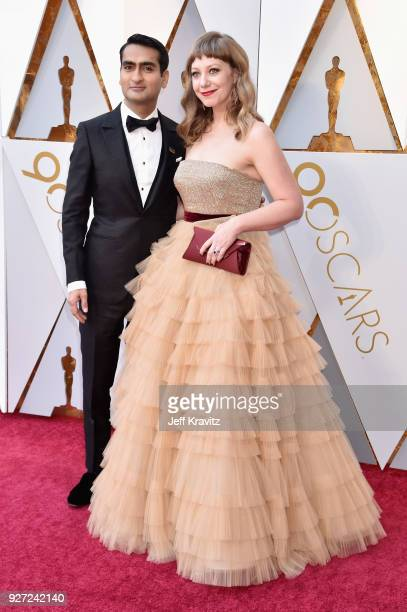 Kumail Nanjiani and Emily V Gordon attend the 90th Annual Academy Awards at Hollywood Highland Center on March 4 2018 in Hollywood California