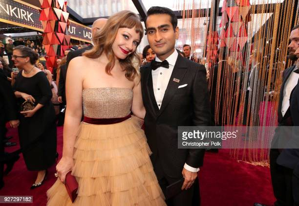 Kumail Nanjiani and Emily V. Gordon attend the 90th Annual Academy Awards at Hollywood & Highland Center on March 4, 2018 in Hollywood, California.