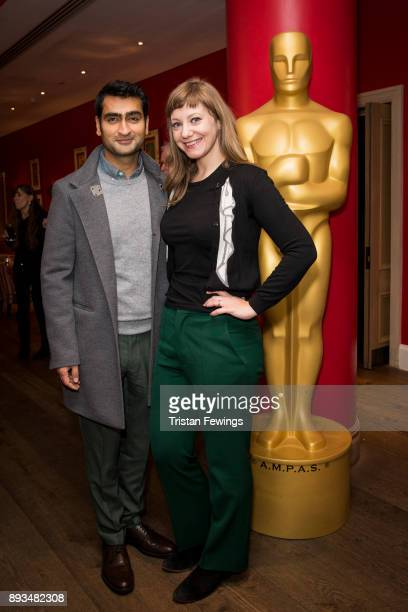 Kumail Nanjiani and Emily V Gordon attend the Academy of Motion Picture Arts Sciences official Academy screening of Star Wars The Last Jedi at Ham...