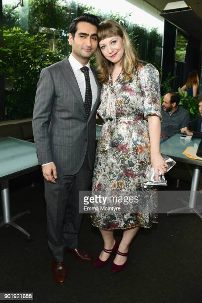 Kumail Nanjiani and Emily V Gordon attend the Film Independent Spirit Awards Nominee Brunch at BOA Steakhouse on January 6 2018 in West Hollywood...