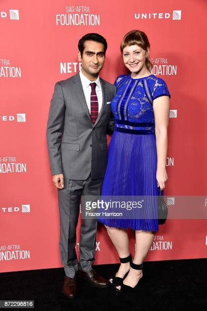 Kumail Nanjiani and Emily V Gordon attend the SAGAFTRA Foundation Patron of the Artists Awards 2017 at the Wallis Annenberg Center for the Performing...