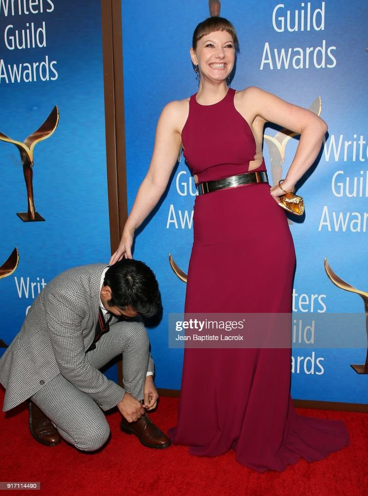 Kumail Nanjiani and Emily V. Gordon attends the 2018 Writers Guild Awards L.A. Ceremony on February 11, 2018 in Beverly Hills, California.