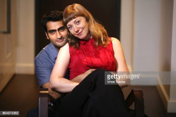 TORONTO ON JUNE 26 Kumail Nanjiani and Emily V Gordon husband and wife cowriters of hot romcom THE BIG SICK in which Nanjiani also stars poses for...