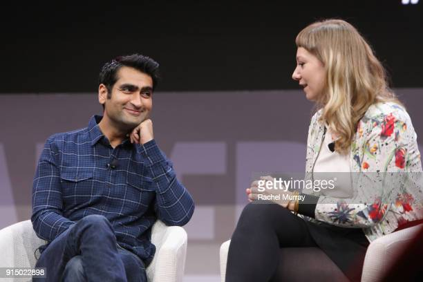 Kumail Nanjiani and Emily V Gordon speak onstage during The 2018 MAKERS Conference at NeueHouse Hollywood on February 6 2018 in Los Angeles California