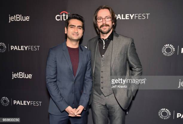 Kumail Nanjiani and Martin Starr attend HBO's Silicon Valley Panel at PaleyFest 2018 at The Kodak Theatre on March 18 2018 in Hollywood California