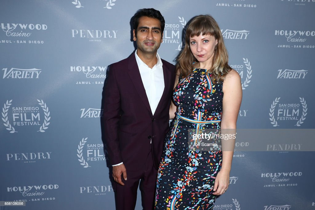 Kumail Nanjiani and wife Emily Gordon arrive at the San Diego International Film Festival's 'Night Of The Stars' at Pendry San Diego on October 5, 2017 in San Diego, California.