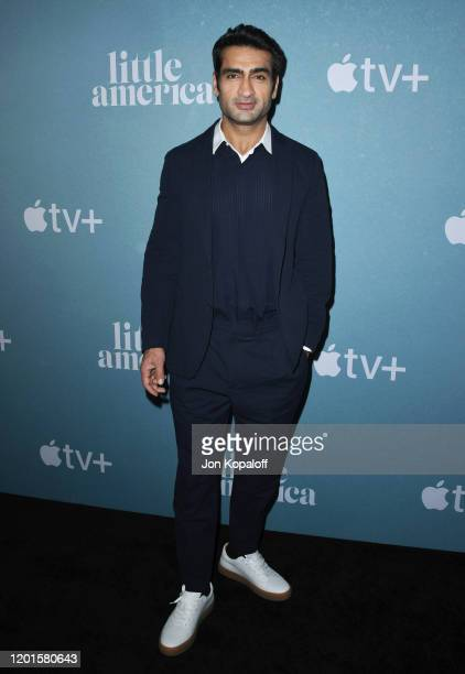 "Kumail Nanjiani attends the premiere of Apple TV+'s ""Little America"" at Pacific Design Center on January 23, 2020 in West Hollywood, California."