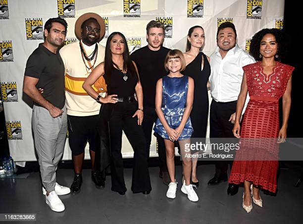 Kumail Nanjiani, Brian Tyree Henry, Salma Hayek, Richard Madden, Lia McHugh, Angelina Jolie, Don Lee and Lauren Ridloff of Marvel Studios' 'The...