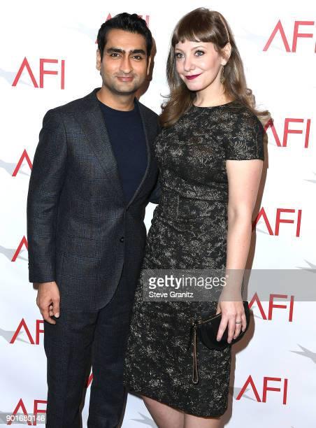 Kumail Nanjiani Emily V Gordon arrives at the 18th Annual AFI Awards on January 5 2018 in Los Angeles California