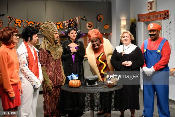 LIVE 'Kumail Nanjiani' Episode 1728 Pictured Melissa Villaseñor as Velma Kyle Mooney as Elvis Kumail Nanjiani as Groot Cecily Strong as Meleficent...