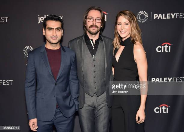 Kumail Nanjiani Martin Starr and Amanda Crew attend HBO's Silicon Valley Panel at PaleyFest 2018 at The Kodak Theatre on March 18 2018 in Hollywood...