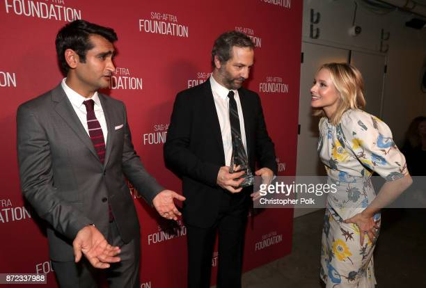Kumail Nanjiani Patron of the Artists Award recipient Judd Apatow and Kristen Bell attend the SAGAFTRA Foundation Patron of the Artists Awards 2017...