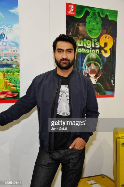 Kumail Nanjiani visits the Nintendo booth during the 2019 E3 Gaming Convention at Los Angeles Convention Center on June 12, 2019 in Los Angeles,...