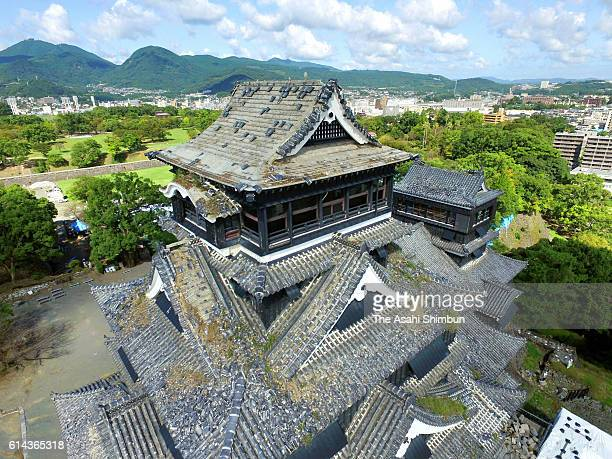 Kumamoto Castle is seen almost six months after series of earthquakes on October 6 2016 in Kumamoto Japan A drone revealed in great detail the damage...