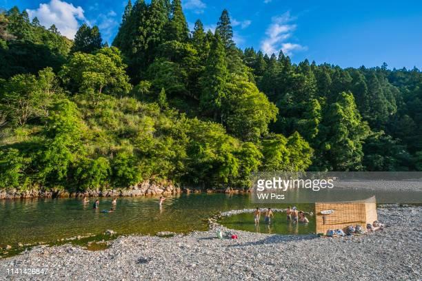 Kumano Kodo pilgrimage route Kawayo Onsen Hot Spring Otogawa river Tanabe Wakayama Prefecture Kii Peninsula Kansai region Honshu Island Japan UNESCO...