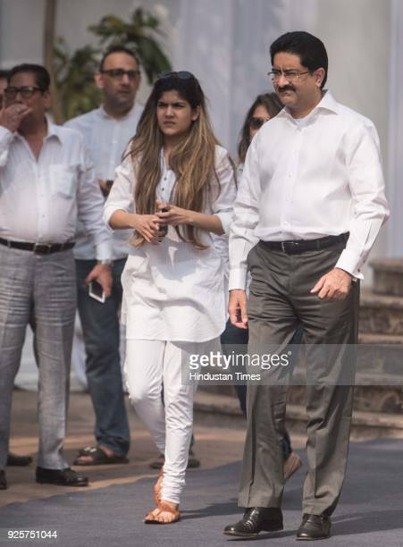 Kumar Mangalam Birla chairman of the Aditya Birla Group with daughter Ananya Birla at celebration club to pay last respect to the late actor Sridevi...