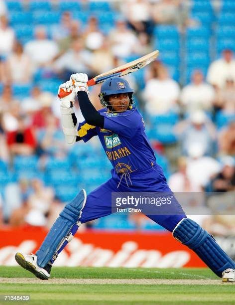 Kumar Sangakarra of Sri Lanka hits out during the 5th NatWest One Day International match between England and Sri Lanka at Headingley on July 1, 2006...