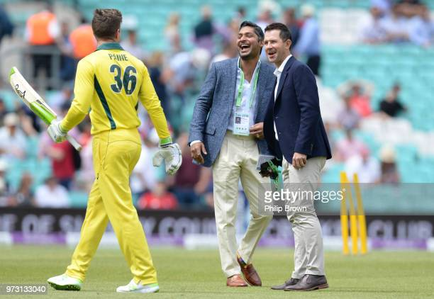 Kumar Sangakkara and Ricky Ponting laugh with Tim Paine of Australia before the first Royal London OneDay International match between England and...