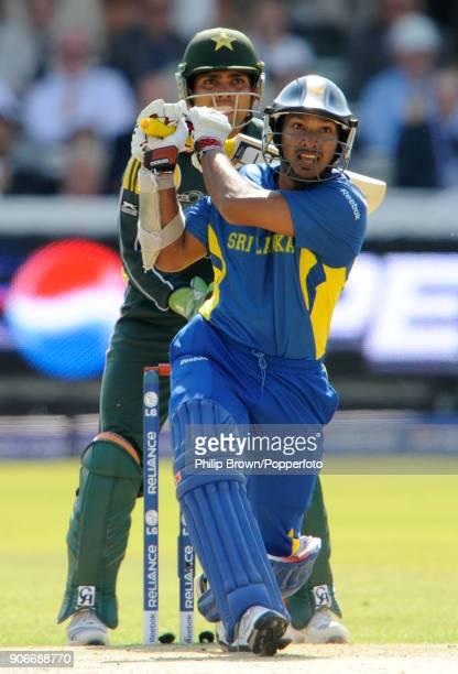 Kumar Sangakkara batting for Sri Lanka during his innings of 64 in the ICC World Twenty20 Final between Pakistan and Sri Lanka at Lord's Cricket...