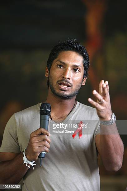 Kumar Sangakkara captain of Sri Lanka returns to Trinity College his old school to promote 'Think Wise' a campaign with UNAIDS UNICEF and the ICC on...