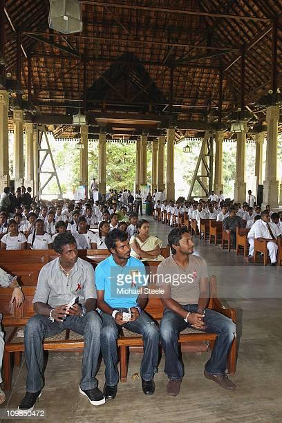 Kumar Sangakkara captain of Sri Lanka returns to Trinity College his old school alongside Upul Tharanga and Ajantha Mendis to promote 'Think Wise' a...