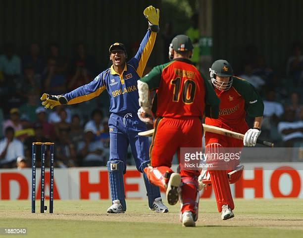 Kumar Sangakkara of Sri Lanka appeals during the ICC Cricket World Cup Super Six match between Sri Lanka and Zimbabwe held on March 15 2003 at...