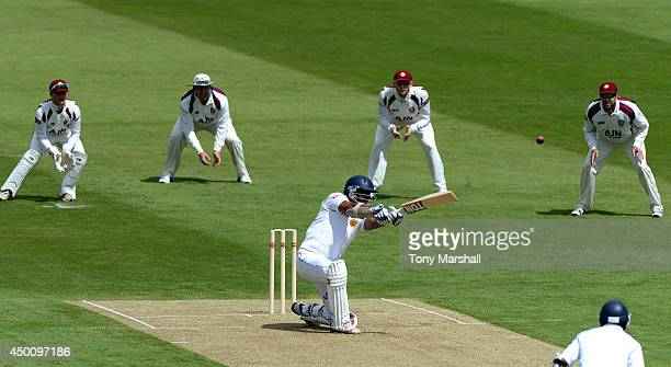 Kumar Sangakkara of Sri Lanka bats against Northamptonshire during the Tour Match between Northamptonshire and Sri Lanka at The County Ground on June...
