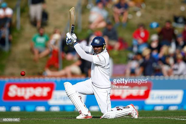 Kumar Sangakkara of Sri Lanka bats during day one of the Second Test match between New Zealand and Sri Lanka at Basin Reserve on January 3 2015 in...