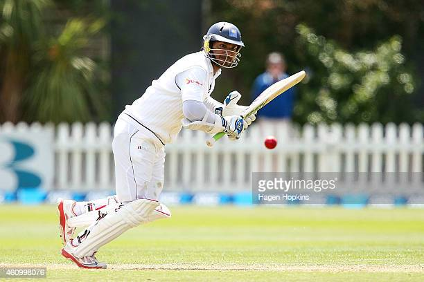 Kumar Sangakkara of Sri Lanka bats during day two of the Second Test match between New Zealand and Sri Lanka at Basin Reserve on January 4, 2015 in...