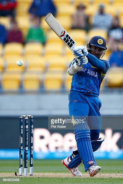 Kumar Sangakkara of Sri Lanka bats during the 2015 ICC Cricket World Cup match between England and Sri Lanka at Wellington Regional Stadium on March...
