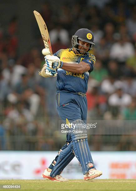 Kumar Sangakkara of Sri Lanka bats during the 4th One Day International match between Sri Lanka and England at R Premadasa Stadium on December 7 2014...