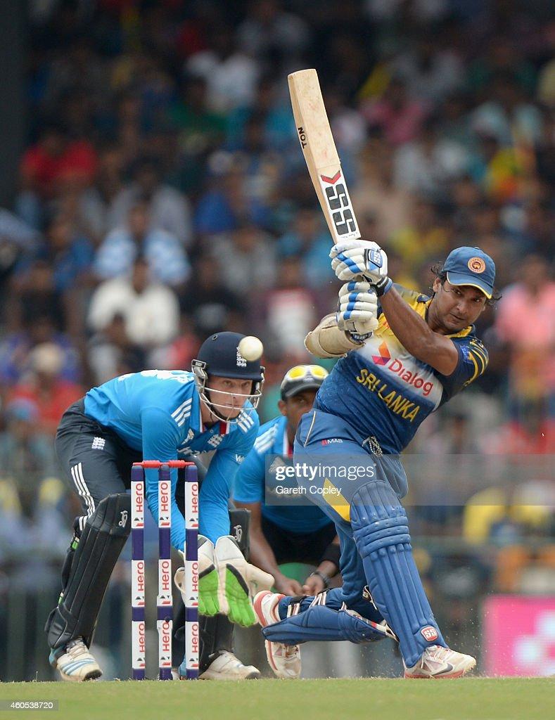 Kumar Sangakkara of Sri Lanka bats during the 7th One Day International match between Sri Lanka and England at R. Premadasa Stadium on December 16, 2014 in Colombo, Sri Lanka.