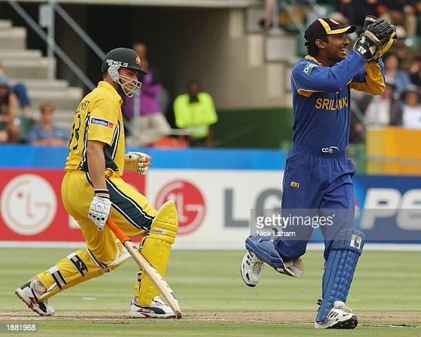 Kumar Sangakkara of Sri Lanka catches Adam Gilchrist of Australia during the ICC Cricket World Cup semi final match between Sri Lanka and Australia...
