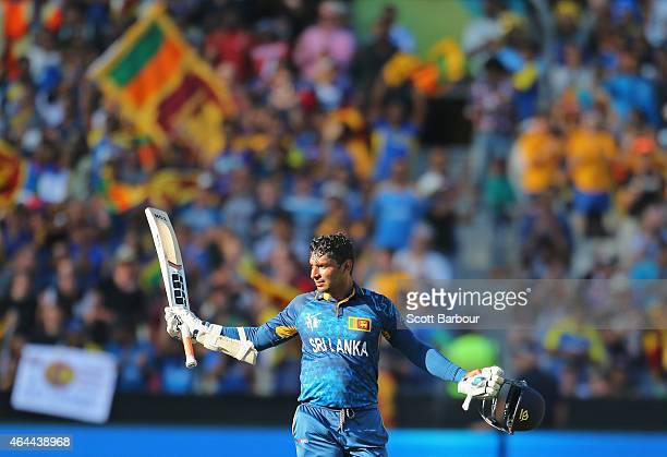 Kumar Sangakkara of Sri Lanka celebrates as he reaches his century during the 2015 ICC Cricket World Cup match between Sri Lanka and Bangladesh at...