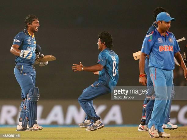 Kumar Sangakkara of Sri Lanka celebrates as Sri lanka win the Final of the ICC World Twenty20 Bangladesh 2014 between India and Sri Lanka at...