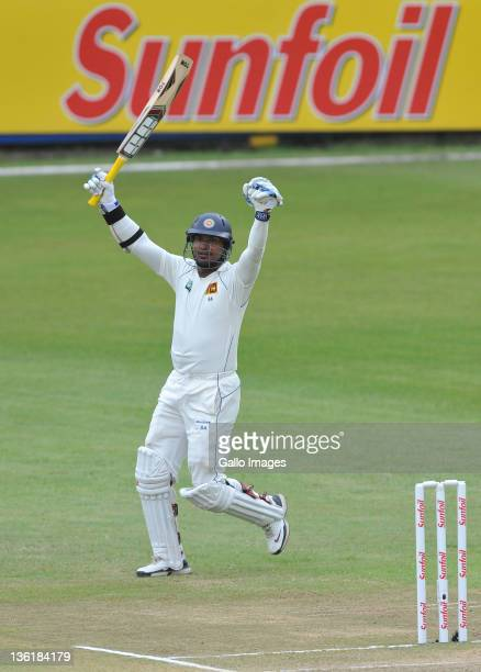 Kumar Sangakkara of Sri Lanka celebrates his 100 runs during day 3 of the 2nd Sunfoil Test match between South Africa and Sri Lanka at Sahara Park...