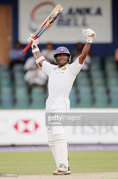 Kumar Sangakkara of Sri Lanka celebrates his 200 during day two of the first test match between Sri Lanka and South Africa at the SSC Stadium July 28...