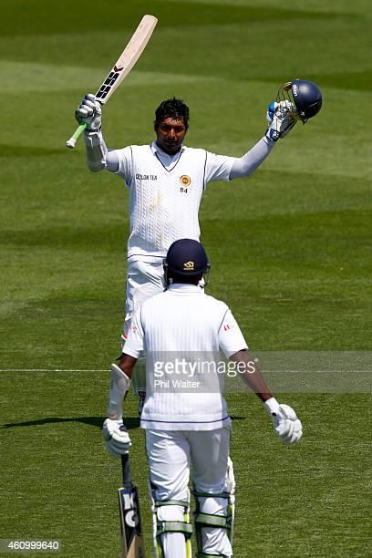 Kumar Sangakkara of Sri Lanka celebrates his century during day two of the Second Test match between New Zealand and Sri Lanka at Basin Reserve on...