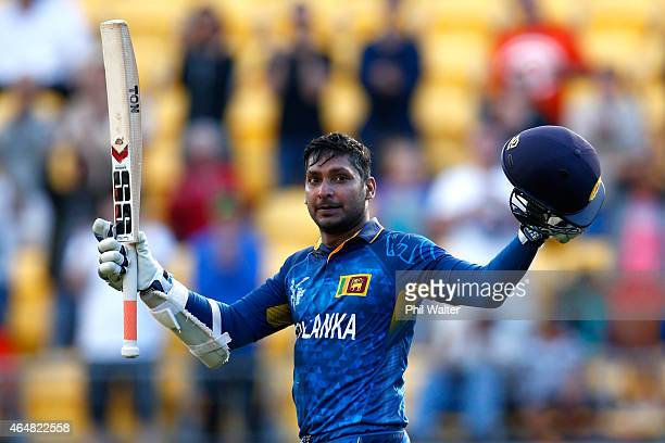 Kumar Sangakkara of Sri Lanka celebrates his century during the 2015 ICC Cricket World Cup match between England and Sri Lanka at Wellington Regional...