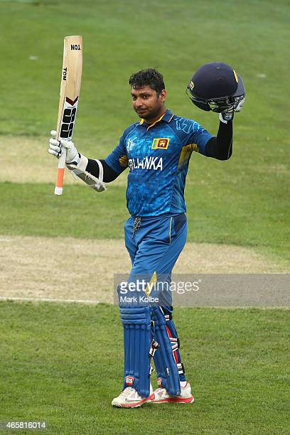 Kumar Sangakkara of Sri Lanka celebrates his century during the 2015 Cricket World Cup match between Sri Lanka and Scotland at Bellerive Oval on...
