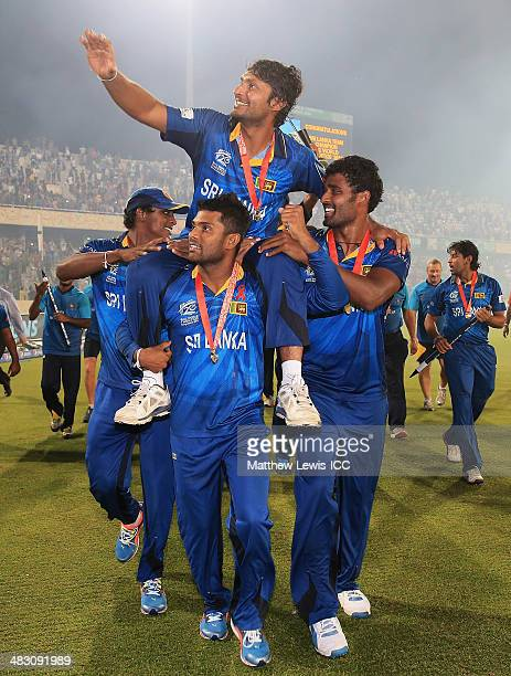 Kumar Sangakkara of Sri Lanka celebrates his team's win over India after the ICC World Twenty20 Bangladesh 2014 Final between India and Sri Lanka at...