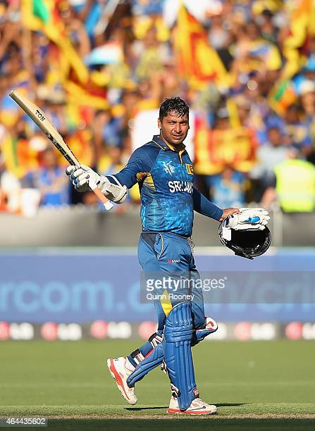 Kumar Sangakkara of Sri Lanka celebrates reaching his century during the 2015 ICC Cricket World Cup match between Sri Lanka and Bangladesh at...