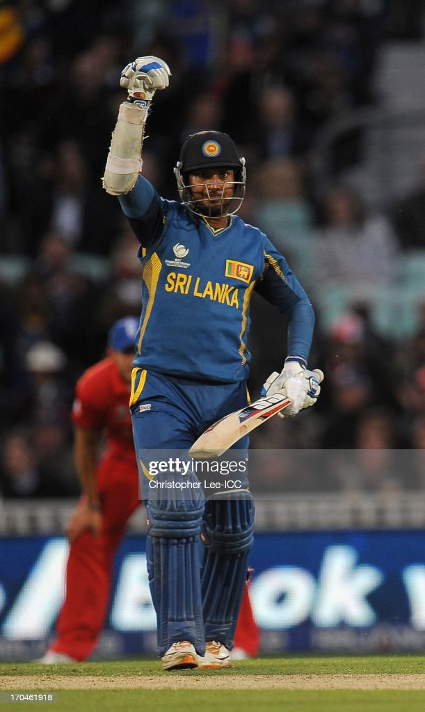Kumar Sangakkara of Sri Lanka celebrates their victory during the ICC Champions Trophy Group A match between England and Sri Lanka at The Oval on June 13, 2013 in London, England.