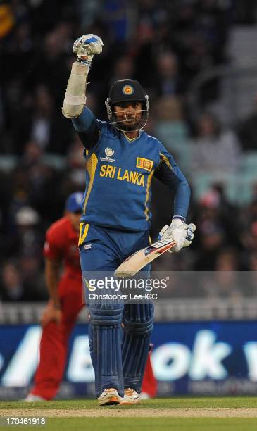 Kumar Sangakkara of Sri Lanka celebrates their victory during the ICC Champions Trophy Group A match between England and Sri Lanka at The Oval on...