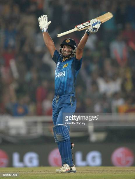 Kumar Sangakkara of Sri Lanka celebrates winning the ICC World Twenty20 Bangladesh 2014 Final between India and Sri Lanka at ShereBangla Mirpur...