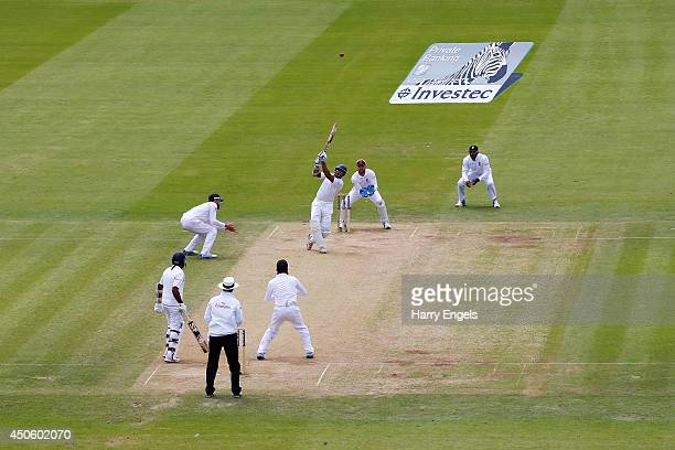 Kumar Sangakkara of Sri Lanka hits out during day three of the 1st Investec Test match between England and Sri Lanka at Lord's Cricket Ground on June...