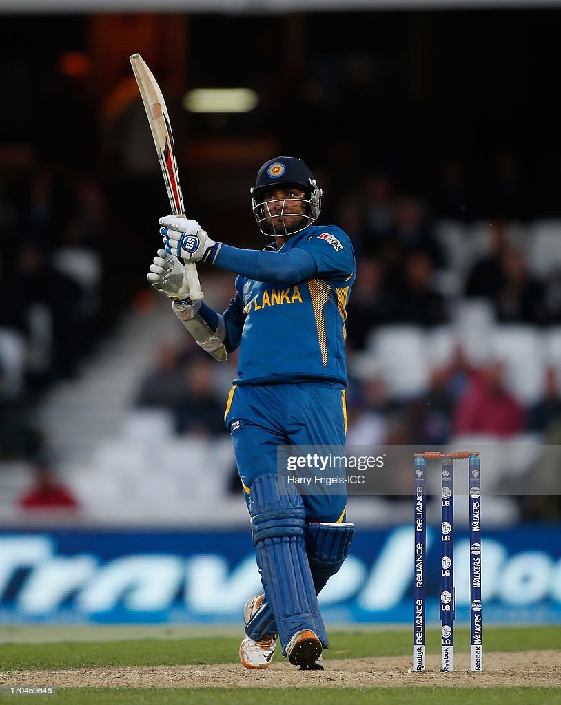 Kumar Sangakkara of Sri Lanka hits the winning runs during the ICC Champions Trophy group A match between England and Sri Lanka at The Kia Oval on June 13, 2013 in London, England.
